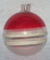 VINTAGE WW II UNSILVERED RED STRIPE FEATHER TREE GLASS CHRISTMAS ORNAMENT B2