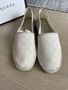 Auth NIB Gucci Men's GG Espadrille Shoes Tan Beige SIZE 8.5 G 9.5 USA