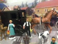 New Ray Country Play Set, Amish Black Buggy Road Set, Figures,Horse, Animal,Toy