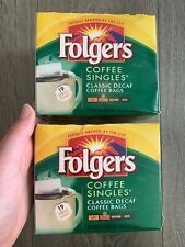 Folgers Coffee Singles Classic Decaf Coffee Bags - 2 Boxes - 38 Packets