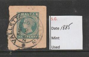 Malta 1885 Green  1/2d Postcard Stationary Stamp