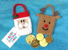 KNITTING PATTERN - Santa and Reindeer gift bags Christmas tree decorations