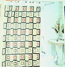 "Contemporary Home Shower Curtain  Pattern 72"" x 72"" white gold tan black"
