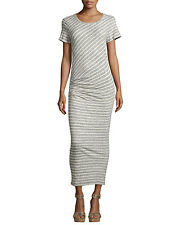 James Perse Woman Ruched Cotton And Linen-blend Jersey Dress Ivory Size 3 James Perse Outlet Fashion Style bK0R6t967