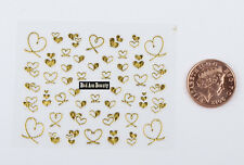 Gold Glitter Hearts 3D Designs Nail Art Stickers Decals UV Acrylic Decoration