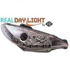 LHD Projector LED DRL Headlights Pair Clear Chrome For Peugeot 206 206CC 98-08