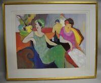 Itzchak Tarkay In The Lounge Lithograph Art Print Framed Ladies Women Sitting
