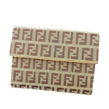Fendi Wallet Purse Trifold Zucchino Green Brown Woman Authentic Used Y3197
