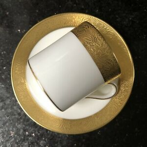 Vintage Wedgwood Ascot White China Gilt Edge Gold Band Coffee Can Cup & Saucer