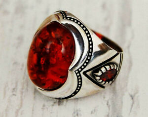 Handmade 925 Sterling Silver Lab Amber & Red Zircon Stones Men's Woman's Ring