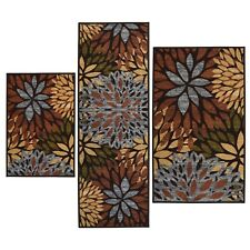 Throw Rugs 3 Piece Set Floral Contemporary Bedroom Area Floor Mat Runner Scatter
