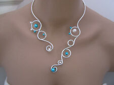 Ivory/Turquoise / Silver Necklace Wedding Dress / Wedding / Ceremony  Cheap