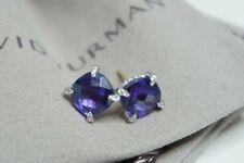 David Yurman 925 Silver14k Gold Purple Amethyst Diamond 9mm Chatelaine Earrings