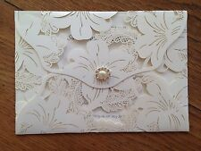 Personalised Sample of Wedding Invitations Wallet Vintage Style Lace Laser Cut