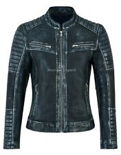 Women Real Leather Jacket Lambskin Navy Vintage Speed Racing Biker Style 2735