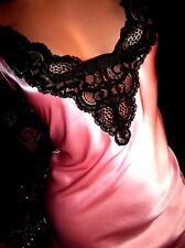 VTG SATIN POPPING BARBIE PINK+BL LEAF LACE STRAP BACK SHINY BABYDOLL NIGHTY GOWN
