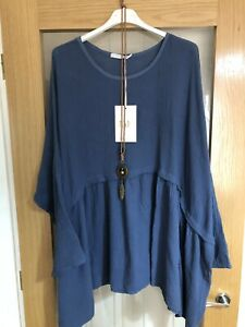 """MADE IN ITALY LAGENLOOK 22/26 Blue Oversized Top With Pendant 35"""" Across Chest"""
