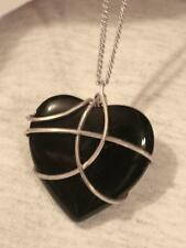 Handsome Wire-Wound Sculpted Black Stone Heart Silvertone Pendant Necklace