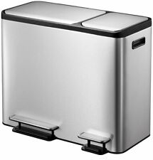 EKO Dual Compartment Stainless Steel Recycle Step Trash Can, 30L + 15L - NEW