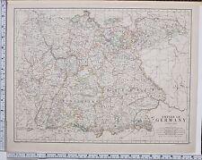 1889 LARGE ANTIQUE MAP ~ EMPIRE OF GERMANY WURTEMBERG BAVARIA NEUBURG SAXONY