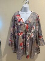 1XL/2XL PLUS SUZANNE BETRO EMPIRE WAIST BELL SLEEVE TUNIC TOP BLOUSE