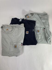 Lot Of 3 Carhartt Medium Flame Resistant FR Long Sleeve T-Shirt Men's Distressed