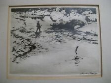 Vintage Churchill Ettinger Signed Fly Fishing Sporting Print Etching