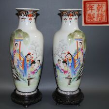 Fine Chinese Porcelain Vases Handpainted w/ Calligraphy Mirror pair, Republic