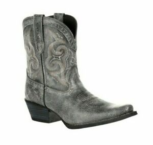 """DURANGO Crush Womens Pewter Shortie Western Ankle Boot 8"""" Leather Grey DRD0357"""