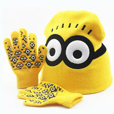 Winter Kids Boys Girls Despicable Me 2 Minion Knitted Beanie Hat Gloves Set Gift