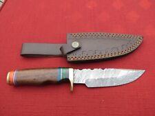 Large Damascus Bowie knife w/ walnut colored wood  handle & leather sheath