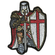 Embroidered Red Crusader Knight Christian Sew or Iron on Patch Biker Patch