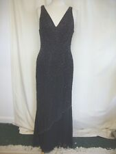 Ladies Evening Dress Noott, black with elaborate beading, UK 14, fitted 2448