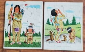 lot 2 vtg 1950s Native American Indian brave father son TRAY Playskool Puzzles