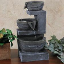 Sunnydaze 3-Tier Cascading Basins Tabletop Indoor Fountain with Light - 15-Inch
