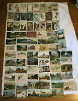 *Group Lot of 77 Antique Postcards American Towns Cities Greetings most pre 1920