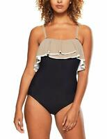 Coco Reef BLACK Paradiso Agate Ruffle Bandeau One-Piece Swimsuit, US 10/34D