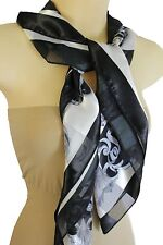 New Women Black White Big Fancy Square Soft Fabric Scarf Wrap Anchor Queen Crown