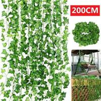 Ivy Leaf Garland Green   Plastic Vine Foliage Home Decor Garden AU 2M N8Q6