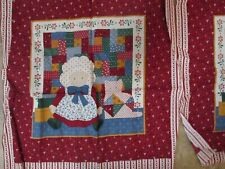 Primitive Doll and Calico Cat Cotton Fabric Quilt 2 Squares 16""