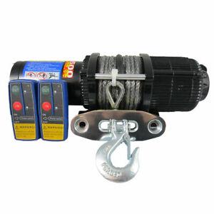 12V 5000lbs 5000lb Electric Winch Dyneema Rope Blue Quad Boat ATV Car 4x4 4500lb