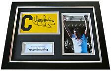 Trevor Brooking Signed FRAMED Captains Armband A4 Photo Display West Ham PROOF