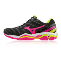 Mizuno Womens Wave Stealth 4 Indoor Court Shoes Black Pink Sports Trainers