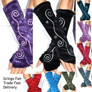 Gringo Velvet Wrist arm Warmer Gloves spiral embroidered velour pixie thumb hole