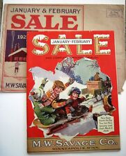 1928 M.W. Savage Co. Mail Order Catalog w/ Colored Pic.of Kids on Sled  *