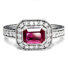 Sideways Set Ruby Halo Engagement Ring with Diamonds 14K White Gold 1.50ctw