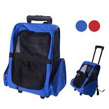 PawHut  2 en 1 trolley chariot sac à dos sac de transport à roulettes pour chien