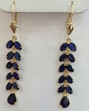 14k Yellow Gold Blue Sapphire Leverback Earrings