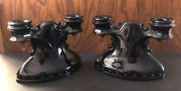VINTAGE MT PLEASANT AMETHYST OLD DOTS L.E. SMITH GLASS CO. DOUBLE CANDLE HOLDERS