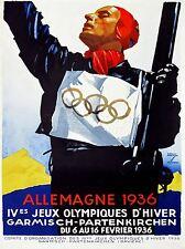 PRINT POSTER SPORT ADVERT WINTER OLYMPIC GAMES PARTENKIRCHEN GERMANY NOFL1057